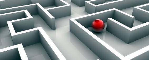 Red sphere lost in maze - 3d render